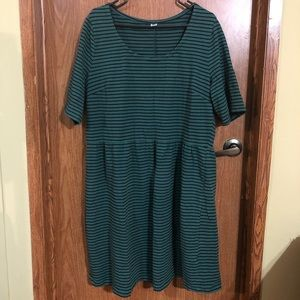 OLD NAVY blue black midi dress stripes XXL